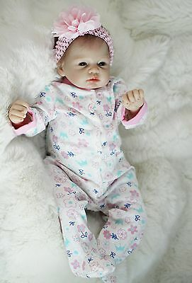 silicone reborn baby doll 22 lifelike soft vinyl With Clothes lifelike Full New