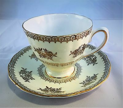 Colclough Vintage  Bone China Yellow Pale Yellow gold roses Teacup and Saucer