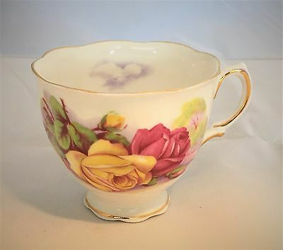 Colclough Fine Bone China Teacup Only England Yellow Pink Rose