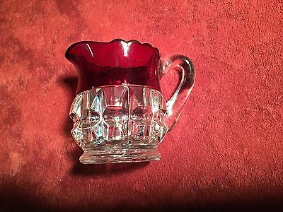Pressed Glass Ruby Flashed Pitcher