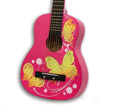 Pink Girls Acoustic Guitar Winged Hearts Age Range 4 and up Great girl gift