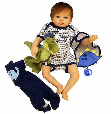 Full Body silicone reborn Baby Boy Doll 22  soft vinyl Lifelike Dolls Clothes