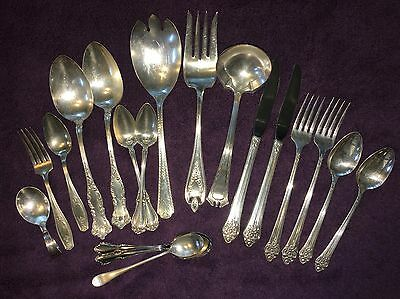 Antique - Vintage SILVER PLATE Flatware LOT OF 19 Assorted patterns  Crafters