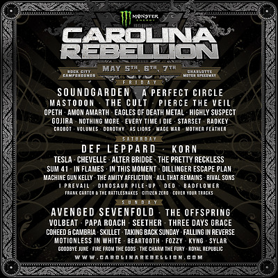 Two 2  Carolina Rebellion 3-day Weekend Passes Tickets Wristbands