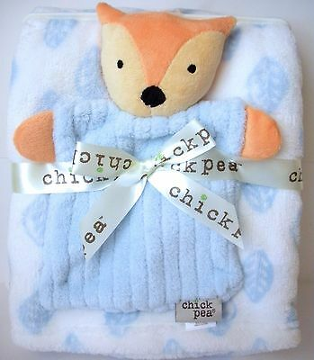Baby Gift Set 2pc Boys Fox And Blue - White Blanket With Leaves Super Soft New
