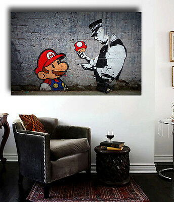 Banksy Street Art  Super Mario Grafitti  Canvas 36x24 Giclee Print