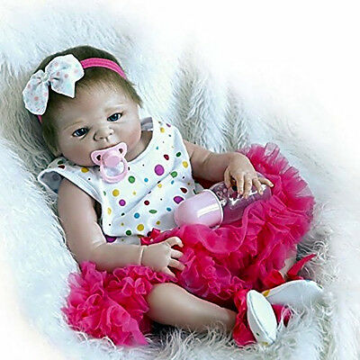 Silicone Realistic Reborn Baby Dolls Newborn Doll Tutu Skirt Full Body Clothes