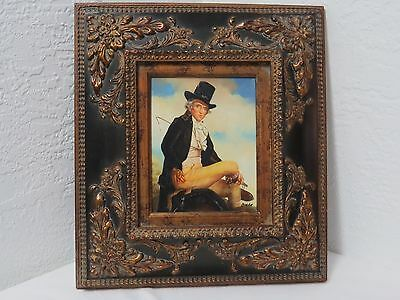 Antique Framed Oil Painting on Board Signed CRETE Art Man on Horse