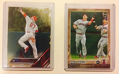 Mike Trout Lot  2015 Topps Update Throwback - 2016 Topps S1 Gold
