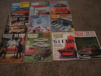 1963 MOTOR TREND MAGAZINES-Vintage lot of 10-all but Feb- and July-VG-