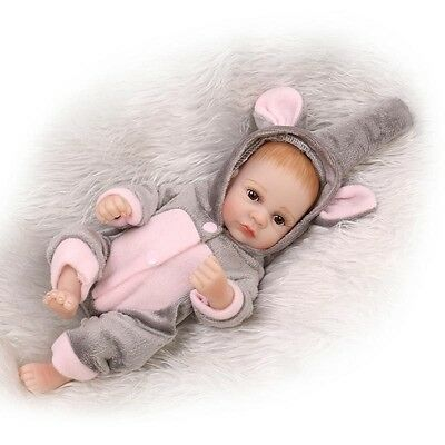 11 Full Body Silicone Lifelike Baby Girl Doll Reborn Newborn Dolls - Clothes
