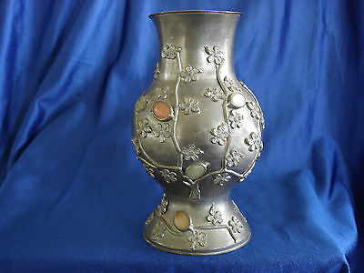 Antique Chinese pewter vase with inlaid stones of Jade Carnelian