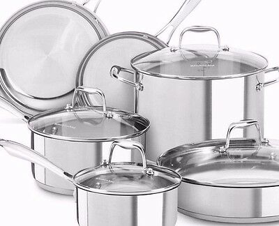 KitchenAid KCSS10LS Stainless Steel 10-Piece Cookware Set - Polished Stainles-