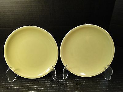 TWO Paden City Pottery Greenbriar Bread Plates 6 Green 2 EXCELLENT