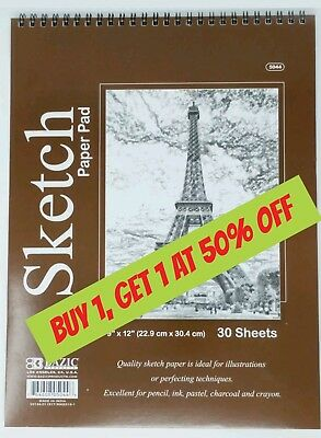 Bazic Spiral Sketch Pad Book  9 x 12 30 Paper Sheets for Pencil Ink Pastel