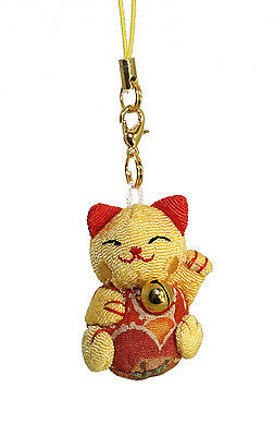 Lucore Golden Lucky Cat Smartphone Cell Phone Lucky Charm w Diamond Dust Plug