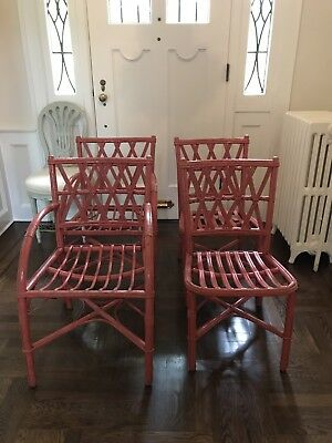 Set of 4 Vintage Wood - Rattan Painted Chairs Salmon Color