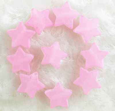 100Pcs 10mm Pink Frosted Acrylic Star Spacer Loose Beads
