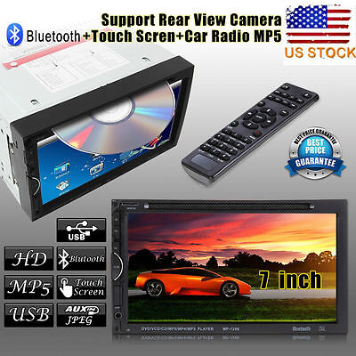 Double 2 Din 7 In Dash Stereo Car DVD CD Player Bluetooth Radio SDUSB for iPod