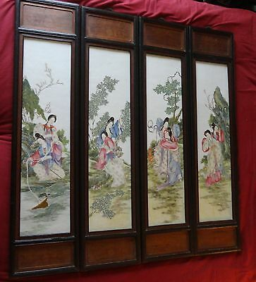 4 LARGE RARE 19th c Antique Chinese famille rose porcelain wall plaque painting