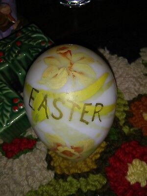 19c Antique Victorian Hand Blown Milk Glass Easter Egg Large Hand Painted