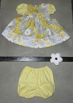 Handmade Doll Clothes for 20 - 22 Baby Dolls Party Girl Yellow Dress Set