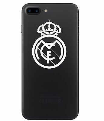 2 UNITS Real Madrid Vinyl Decal Smart Phone White Chrome Sticker Soccer Futbol