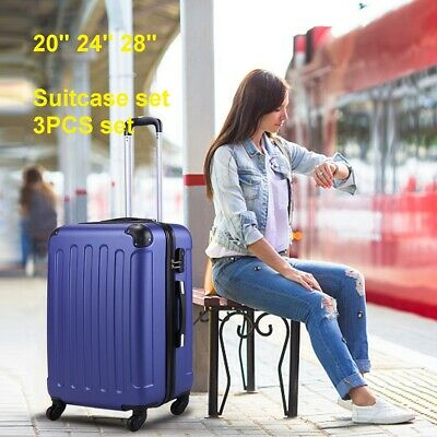 BHC 3 Pcs Luggage Coded Lock Travel Set Bag ABS-PC Trolley Suitcase Deep Blue