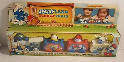 Vintage SMURFS Wind-Up Train From 1982 MINT IN THE BOX