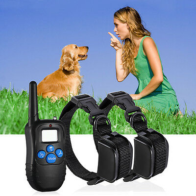 Pet Dog Training Collar Two Collars Rechargeable Electric LCD 100LV Shock