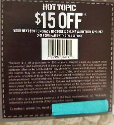 18 Hot Topic 15 off vouchers