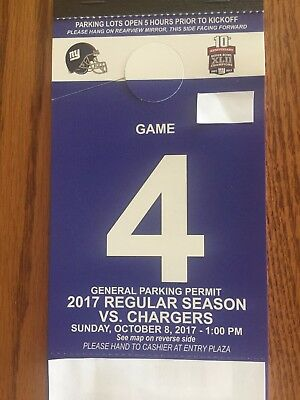 New York Giants Parking Passes 1082017 vs-Los Angeles Chargers