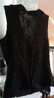 NWOT Wet Seal Black Stretch Lace Knit Top size Small Sleeveless Ruffle Detail