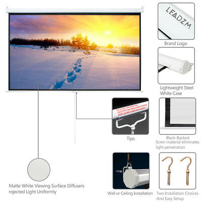 Big Sale 100 Projector Screen 169 Projection HD Manual Pull Down Home Theater