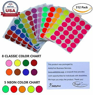 Color Coded Dot Stickers Rounded Labels 1 Inch 25mm 13 Assorted Colors 312 Pack