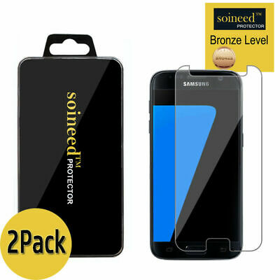 2-PackSOINEED Tempered Glass Screen Protector Film Cover For Samsung Galaxy S7