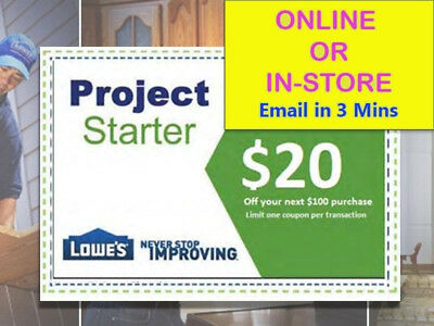 TWO Lowes 20 OFF 100 LowesCoupons -EXP 103117-fastFasterFASTEST DELIVERY