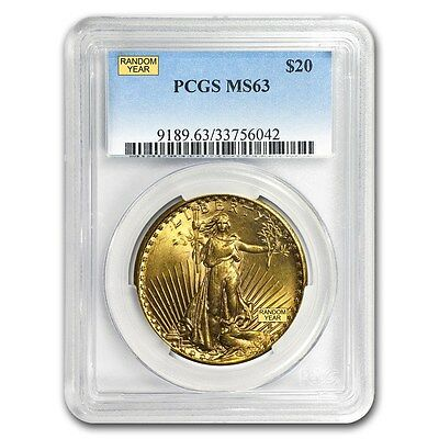 20 Saint-Gaudens Gold Double Eagle MS-63 PCGS Random