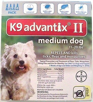 Bayer K9 Advantix II for Medium dogs 11-20 lbs 4 pack EPA Approved Ships Free