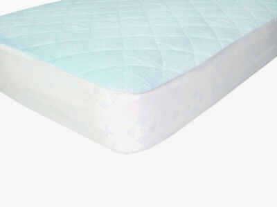 Waterproof Fitted Bamboo Crib and Toddler Mattress Protector  Pad  Cover Blue