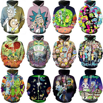 WomenMen Rick and Morty Funny 3D Print Casual Hoodie Sweatshirt Pullover Jumper