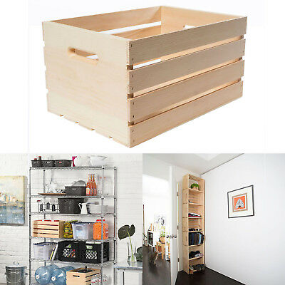 LARGE WOOD CRATE 18 IN X 12-5 IN X 9-5 IN PALLET BASKET STORAGE SHELVING SYSTEM