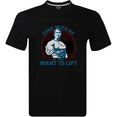 Arnold Schwarzenegger Come With Me If You Want To Lift Logo Mens T-Shirt Top