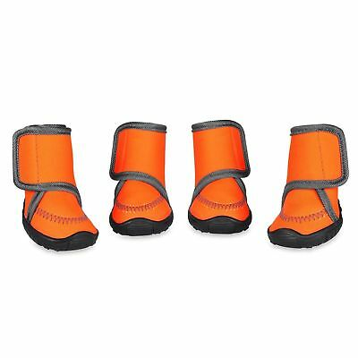 Dog Boots Waterproof Paw Protectors Dog Shoes w Adjustable Strap Anti-Slip Sole