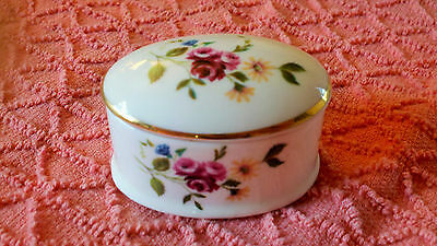 Royal Grafton Porcelain Trinket Box - England Fine Bone China Floral Design Gilt