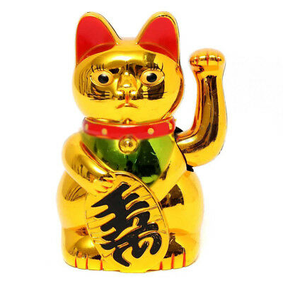 New Chinese Lucky Waving Gold Cat Feng Shui Figure Moving Arm in Colourful Box