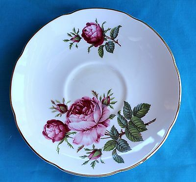 Royal Grafton Pink Peony Flower Saucer Plate Fine Bone China England Vintage