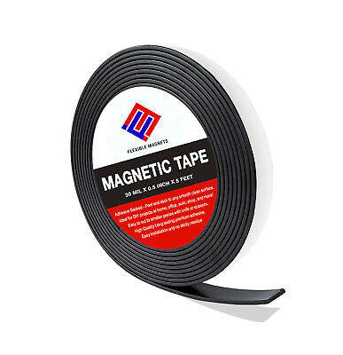 Flexible Magnetic Tape Roll with Adhesive Backing- Super Sticky All Sizes
