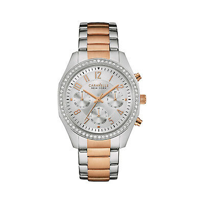 Caravelle Womens 45L148 Quartz Chronograph Crystal Accents Two-Tone 36mm Watch