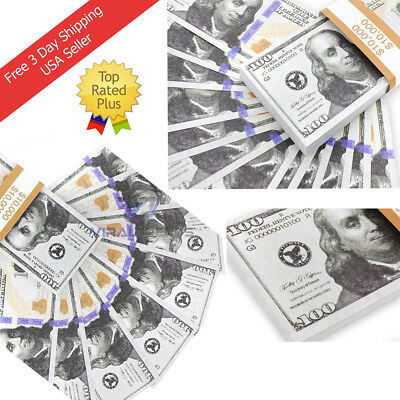 10000 Total Prop Toy Money 100 count of 100 Dollar Bills Double Sided Print